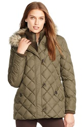 Lauren Ralph Lauren Faux Fur Trim Toggle Closure Quilted Down And Feather Fill Jacket Litchfield Loden