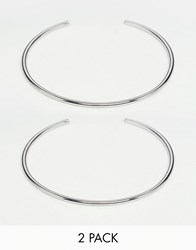 Asos Pack Of 2 Fine Arm Cuffs Silver