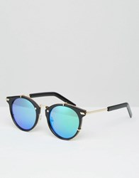 Jeepers Peepers Round Sunglasses With Blue Lens Black