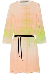 Raquel Allegra Tie Dyed Silk Georgette Dress Pastel Pink Yellow