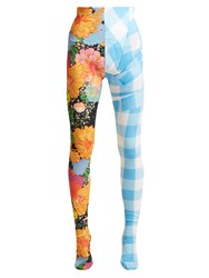 Richard Quinn Contrasting Print High Rise Leggings Blue Multi