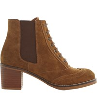 Bertie Lace Up Suede Ankle Boots Tan Suede