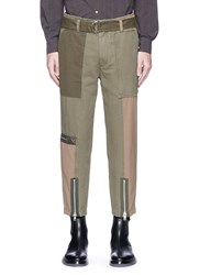 3.1 Phillip Lim Zip Cuff Patchwork Canvas Flight Pants Green