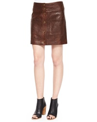 Veronica Beard Patrol Cargo Leather Mini Skirt