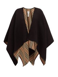 Burberry Heritage Icon Stripe Reverse Wool Poncho Black