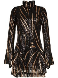Halpern Fitted Sequin Embellished Mini Dress Black