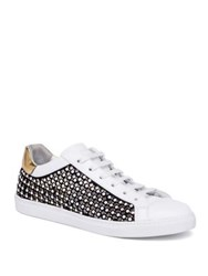 Rene Caovilla Pearl Studded Suede And Leather Sneakers White Black Gold