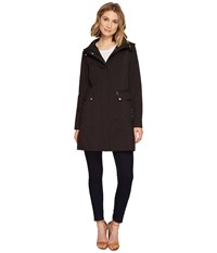 Cole Haan 34 1 2 Single Breasted Rain Jacket With Removable Hood Black Women's Coat
