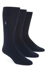 Ralph Lauren 3 Pack Supersoft Ribbed Socks Navy