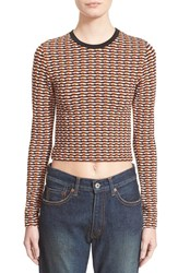 Women's Opening Ceremony Check Stretch Long Sleeve Crop Top
