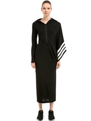 Y 3 Striped Cotton Knit Kimono Dress Black