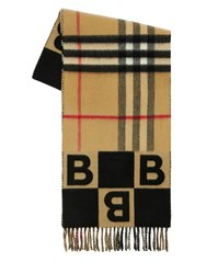 Burberry Geometric B And Giant Check Logo Scarf Black