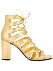 Saint Laurent High Heel Gladiator Sandals Metallic