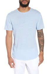 Vince Raw Hem Linen And Cotton T Shirt Feather