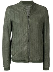Salvatore Santoro Perforated Bomber Jacket Green