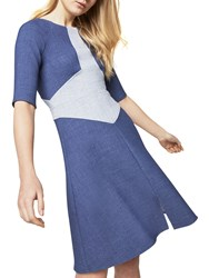 Closet Denim A Line Dress Navy