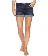 7 For All Mankind Roll Up Shorts In Nouveau New York Dark Nouveau New York Dark Women's Clothing Blue