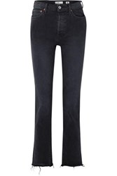 Re Done Double Needle Long Frayed High Rise Slim Leg Jeans Black