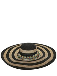Etro Striped Wide Brim Hat W Beads Black