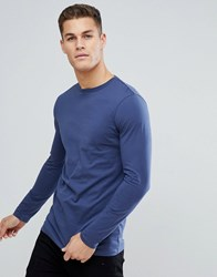 Asos Longline Crew Neck T Shirt With Long Sleeves In Blue Dk Denim