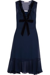 See By Chloe Velvet Trimmed Ruffled Chiffon Dress Navy