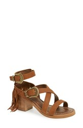 Women's Matisse Fringe Block Heel Sandal Tan Leather