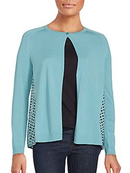 Lafayette 148 New York Relax Long Sleeve Cardigan Blue Steel