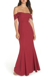Wayf The Lucy Strapless Trumpet Gown Crimson