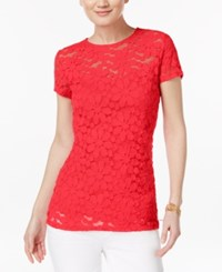 Inc International Concepts Lace Illusion Top Only At Macy's Coral