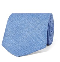 Drakes Drake's 8Cm Herringbone Wool Silk And Linen Blend Tie Light Blue