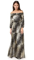 Shoshanna Off Shoulder Metallic Dot Gown Jet Ground And Gold Dot