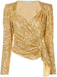 Attico Sequinned Top Gold