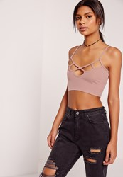 Missguided Cut Out Detail Ribbed Bralet Pink Mauve