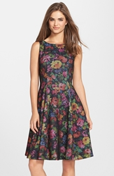 Eva Franco 'Collette' Print Scuba Fit And Flare Dress Secret Garden