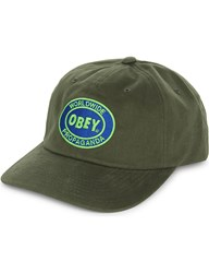 Obey Vision Six Panel Cotton Snapback Cap Army