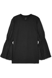 Mother Of Pearl Cassandra Organic Cotton Jersey And Embroidered Voile Top Black
