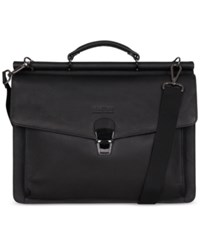 Kenneth Cole Reaction My Rod Ern Life Leather Dual Compartment Computer Portfolio Bag Black