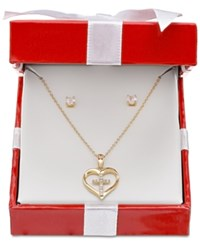 Giani Bernini Cubic Zirconia Heart And Cross Pendant Necklace And Stud Earrings Set In 18K Gold Plated Sterling Silver Only At Macy's