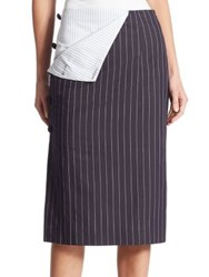 Monse Pinstripe Pencil Skirt Navy Ivory