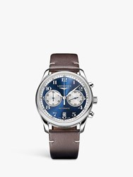 Longines L26294992 'S Master Collection Automatic Chronograph Date Leather Strap Watch Brown Blue