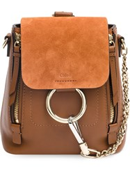 Chloe Faye Mini Backpack Cotton Calf Leather Calf Suede Brown