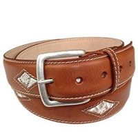 Manieri Snake Embossed Insert Italian Leather Belt Cognac
