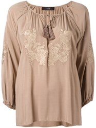 Steffen Schraut Floral Embroidery Blouse Brown