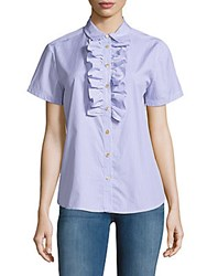 Marc By Marc Jacobs Striped Ruffle Front Shirt Pacific Blue