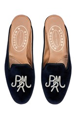 Stubbs And Wootton Block Silver M'onogrammed Hand Embroidered Mule Navy