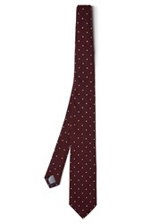 Dunhill Polka Dot Embroidered Silk Tie Burgundy