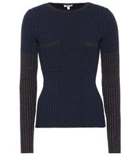 Kenzo Ribbed Wool Blend Sweater Blue