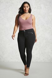 Forever 21 Plus Size Mid Rise Moto Jeans Black