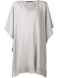 Denis Colomb Fringed Poncho White
