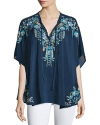 Johnny Was Hope Embroidered Poncho Women's Blue Night